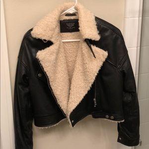 ZARA Trf Genuine Leather Shearling Aviator Jacket